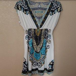 Black/Off White/Teal/olive Grn Patterned Dress